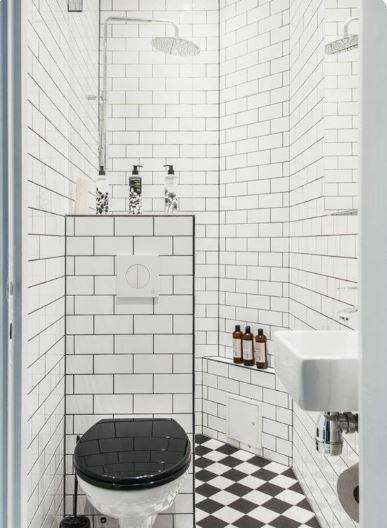 Mini salle de bain déco noir blanc